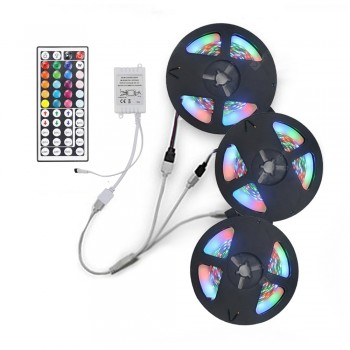 3x5M 2835 RGB LED Strip Light with 44 Key IR Controller 1 to 3 Connecting line