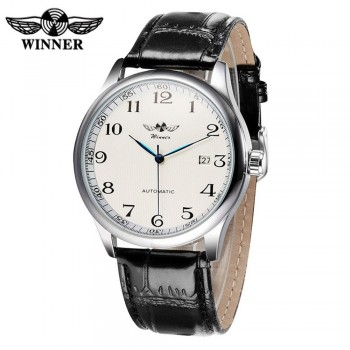 Winner 458 Men'S Casual Business Simple Leather Automatic Mechanical Watch