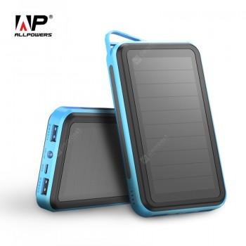ALLPOWERS Solar Power Bank 15000mAh Li-polymer Phone External Battery Charger Dual USB for Mobile Phones.