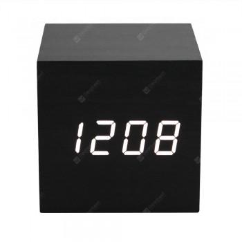 LED Display Wooden Alarm Clock