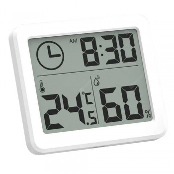 MoesHouse Multifunction Thermometer Hygrometer Automatic Electronic Temperature Humidity Monitor Clock 3.2 inch Large LCD Screen