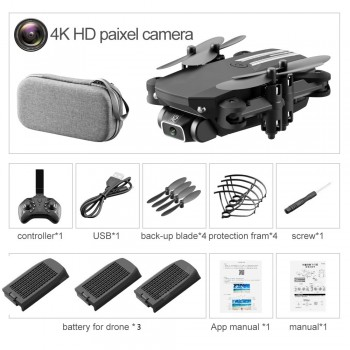 2020 New Mini Drone 4K 1080P HD Camera WiFi Fpv Air Pressure Altitude Hold Black And Gray Foldable Quadcopter RC Drone Toy